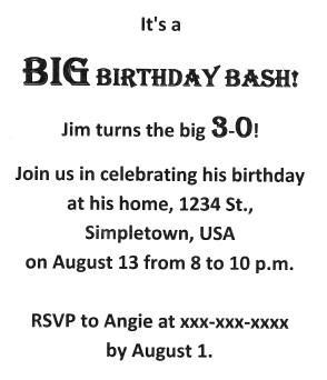 Birthday Party Invitation Wording Example