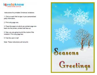 Vertical Snowflake Invitation