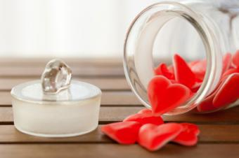 Glass jar of red candy hearts