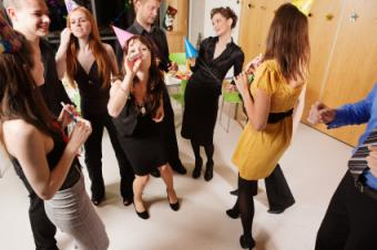 mingling at office party