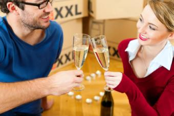 housewarming with champagne drinks