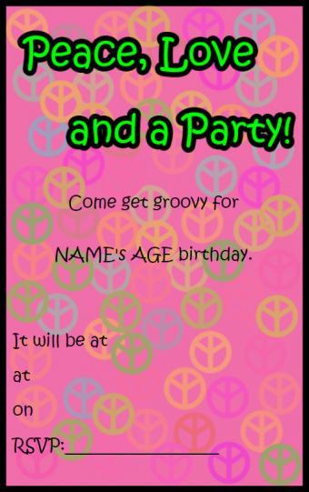 Groovy peace invitation