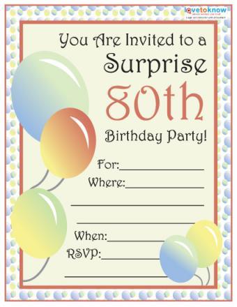 80th Surprise Party Invite 1
