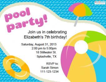 Teen pool party invitation