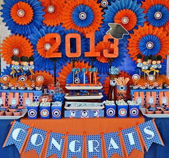 Graduation party decor using two school colors