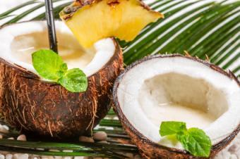 Pina Coladas Served in Coconut halves