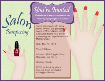 Spa Day Invitation for Mother's Day
