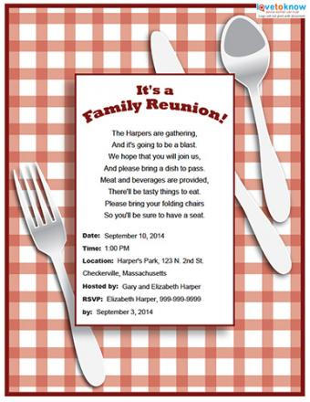 Red check family reunion party invitation
