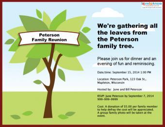 Family tree reunion party invitation