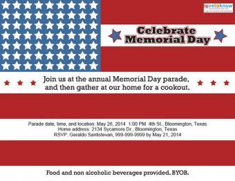 Memorial Day party invitation