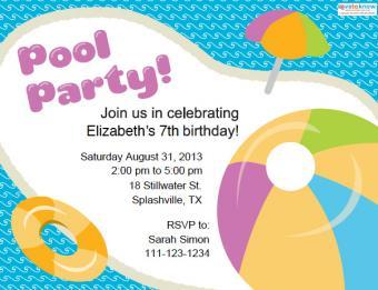 Children's pool party invitation