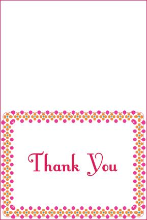 pink polka dot thank you card