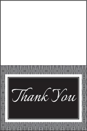 black and gray thank you card