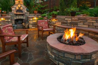 Backyard seating area with fire pit