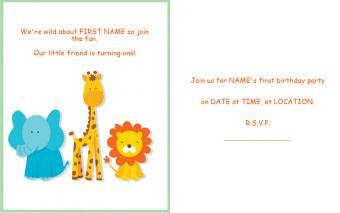 Animal 1st birthday invitation
