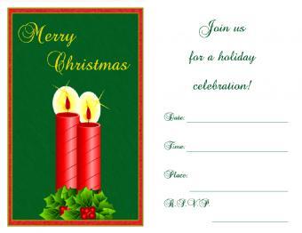 Christmas candle invitation