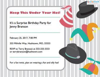 hat surprise party invitation