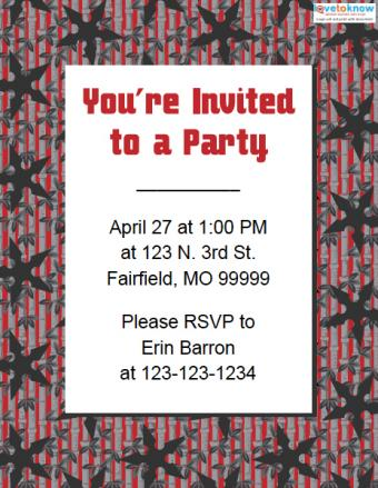 Ninja birthday party invitation template