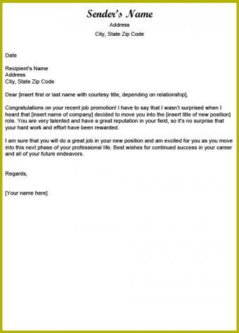 Job promotion congratulatory letter