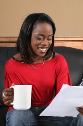 Reading a congratulatory letter