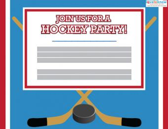 Click to edit the hockey party invitation.