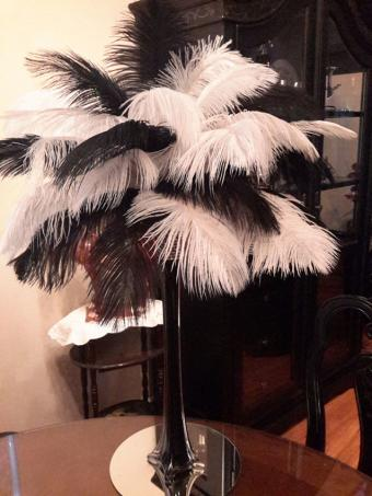 Black and white ostrich feather centerpiece