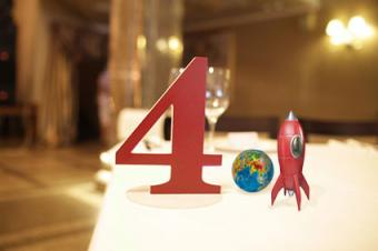 Number with space decorations