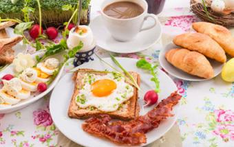 Easter table with healthy brunch