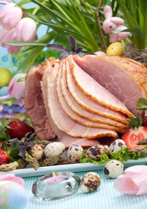 Easter brunch sliced ham