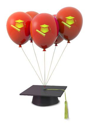 stenciled balloons with mortarboard