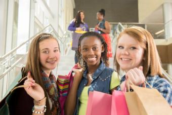 Girlfriends shop in mall