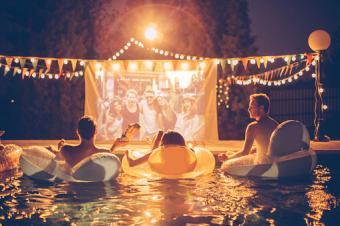 Pool movie night party