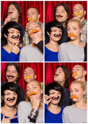 Friends in photo booth