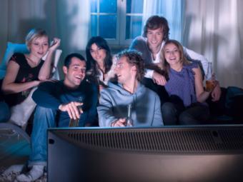 Friends watching a movie
