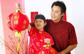 Holding Lantern During Festival