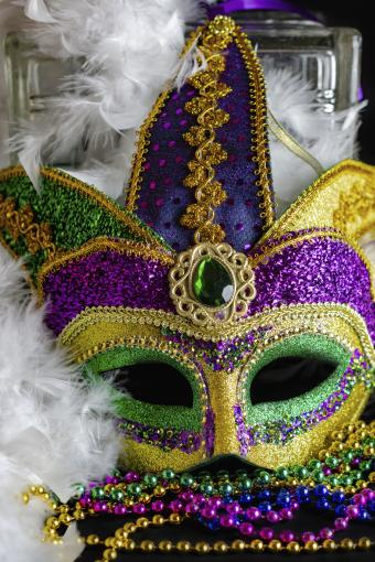 Jester mask with boa and beads