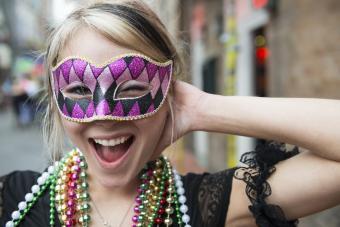 Woman wearing a Mardi Gras mask