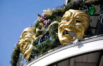 From below view of theater masks