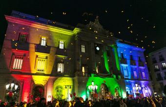Barcelona City Hall illuminated