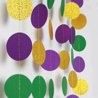 Gold Purple Green Circle Dots Garland Kit Mardi Gras Decoration