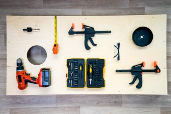 DIY Cornhole Flat Lay Woodwork Project with Tools