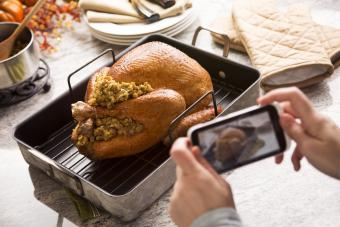 Sharing Thanksgiving turkey fresh from the oven with the rest of the family online