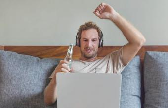 man having fun on virtual call
