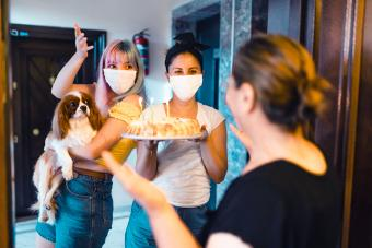 Family celebrating her Mothers birthday during pandemic
