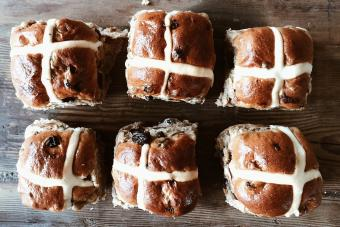 Close-Up Of Easter Hot Cross Buns