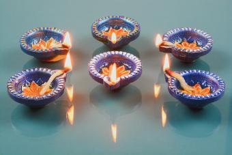 Decorated Diwali lights