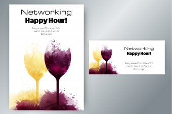Wine glasses with background stains invitation