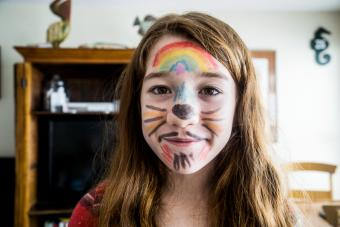 Teenage girl with homemade face painting