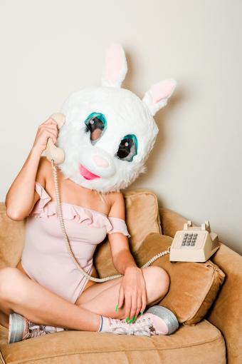 Woman Wearing Bunny Mask Bunny Costume Talking On Telephone