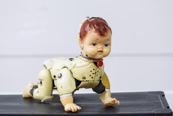 Bizarre old doll at the flea market
